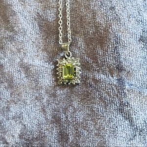 August Birthstone Peridot Sterling Silver Necklace